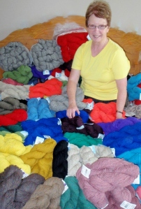 "Anne with her 100% ""Salt Water Sheep's Wool"""